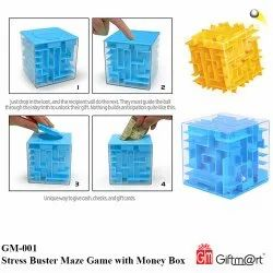 Blue & Yellow Stress Buster Maze Game with Money Box