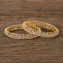Women Brass Cz Classic Bangles With Gold Plating 405978