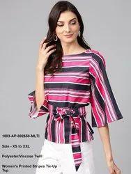 Women's Printed Stripes Tie-Up Top