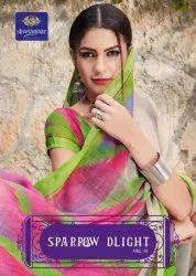 Multicolor Party wear Linen Digital Print Saree, With Blouse Piece, 5.5 m (separate blouse piece)