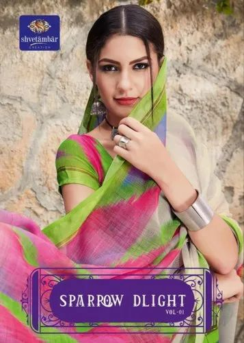 Multicolor Party wear Linen Digital Print Saree, With Blouse Piece, 5.5 m (separate blouse piece)