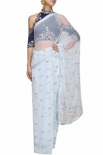 0f82bacd820 Pure Silk Powder Blue Pearl Embroidered Saree