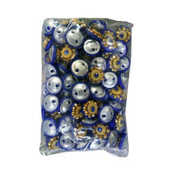 Blue And Golden Dress Button