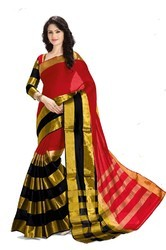 Red Half & Half Silk Cotton Saree