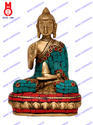 Lord Buddha Blessing Hand Golden W/Stone Work Statue