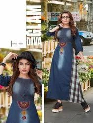 Meerali- Apsara-1 Denim with Fancy Embroidery Work Long Stylish Kurtis