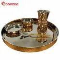 Choozee - Copper Thali Set (5 Pcs) of Thali, Bowl, Spoon & Matka Glass
