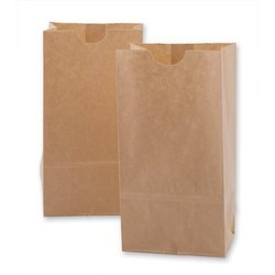 Brown Plain Kraft Paper Grocery Bag, Capacity: 1-4 kg