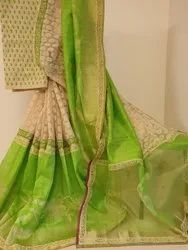 Party Wear Printed Raw Silk Handwoven Sarees, With blouse piece, 5.5 M (separate Blouse Piece)