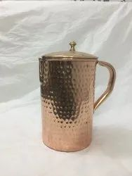 Natural Hammered PURE COPPER WATER JUG, For Home, Capacity: 1.5 L