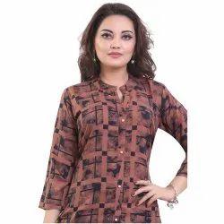 Rayon Casual Wear Printed Short Kurti, Wash Care: Machine wash