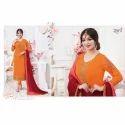 Ladies Georgette 3/4th Sleeve Orange Designer Suit