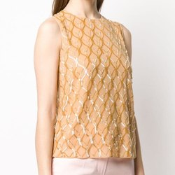 Beaded Tank Top with all over Beaded Embroidery