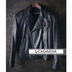 Black Casanova Mens Leather Motorcycle Jacket, Size: S-XXL