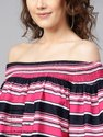 Women's Printed Stripes Off-Shoulder Top