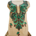 Ladies Beige Green Embroidered Suit