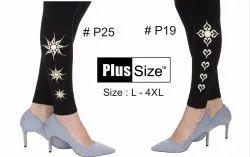 Cotton Churidar Bottom Printed Black Legging, Size: L-4XL