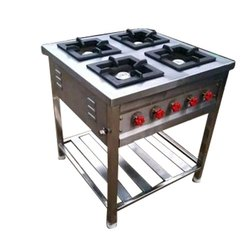 Stainless Steel 4 Burner Commercial Gas Stove, For Kitchen