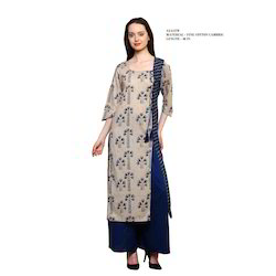 Cotton Multi Color Women Round Neck Jaipuri Printed Kurti