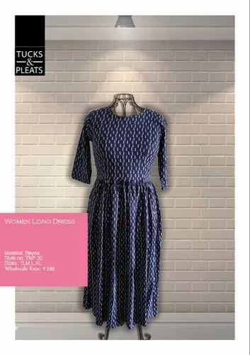 Casual wear 3/4th Sleeves Ladies Assorted Printed Rayon Long Dress