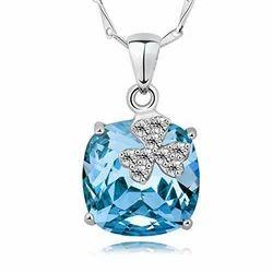 Designer Blue Color Stone Silver Pendant