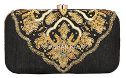 Black Fabric Zari Hand Embroidery Ladies Clutch Purse
