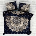 Cotton Floral Mandala Printed Gold Silver Double Bed sheet