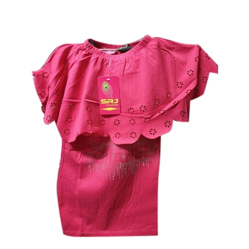 Cotton Casual Wear Girls Pink Top