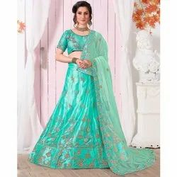 Light Green Embroidered Net Lehenga Choli