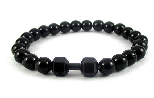 Plated Black Dumbbell Bead Bracelet Wrist Band For Men