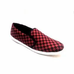 Casual Wear Ladies Red Canvas Shoes, Size: 5-10