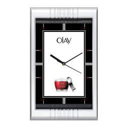 One Time Silver Plastic Rectangle Wall Clock, Esv J161718, Size: Dimension 8x13.5