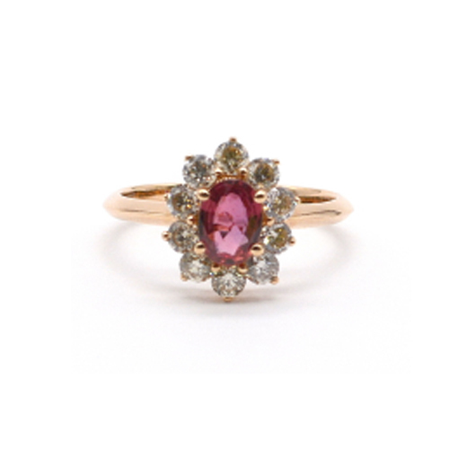 0.85 CTS Diamond Ring- 18 KT Rose Gold Ring- Cluster Ring with Red Sapphire