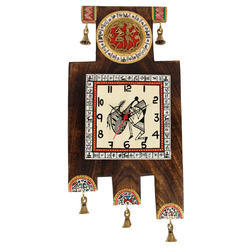 e4d7754ee1a Antique Handcrafted Dhokra Wooden Zig-Zag Clock