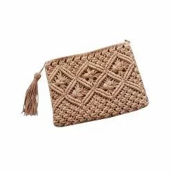 Women Shopping Macrame Clutch Hand Purse