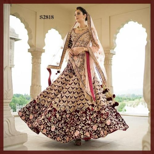 Bridal Wear Maroon Velvet Heavy Worked Semi-Stitched Lehenga Choli Dupatta Set