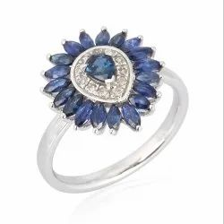 Marquise Blue Sapphire Gemstone White Gold Ring