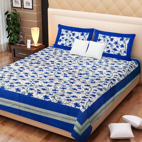 Nice Bedcolors Cotton Bagru Printed White And Blue King Size Beds