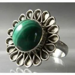 925 Sterling Silver Malachite Fashion Rings