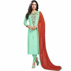 Rajnandini Turquoise Green Chanderi Silk Printed Semi-Stitched Dress With Sequence Work Dupatta