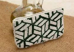 Green And White Beautiful Bead Purse