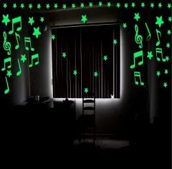 Romantic Music Notes Glow in The Dark Fluorescent Home Decorate Wall Sticker