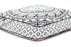 Indian Mandala Floor Pillow Square Ottoman Seating Pouf