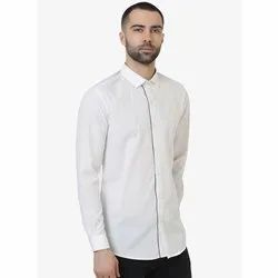 Green Hill Men's Solid Casual White Shirt