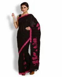 Black & Majenta Pure Silk Batik Saree (Product no 158)