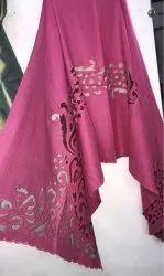 Pink Plain laser cut work cashmere shawls
