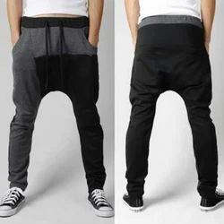 Grey, Black Cotton Sinker Boys Baggy Pant