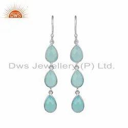 Aqua Chalcedony Gemstone Designer Sterling Fine Silver Earrings