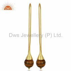 Gold Plated Designer Tiger Eye Gemstone Earrings