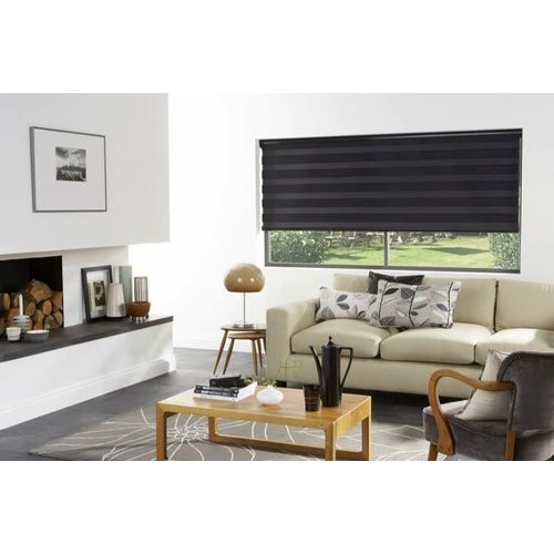 Black Horizontal Blinds Living Room Window PVC Blinds